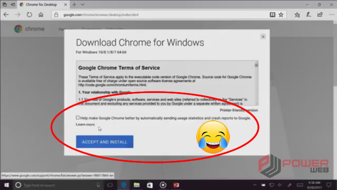 Funcionário Microsoft instalando Google Chorme