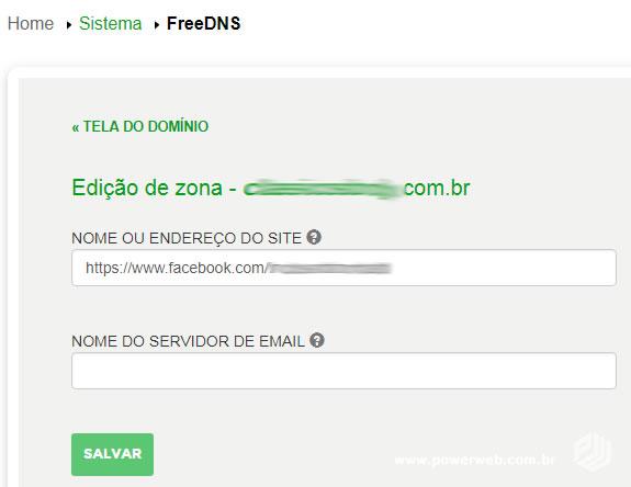 Adicionar endereço para redirecionamento para Facebook no Registro.BR