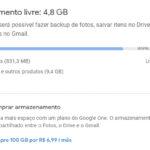 Google Fotos - Espaço de armazenamento bastante utilizado